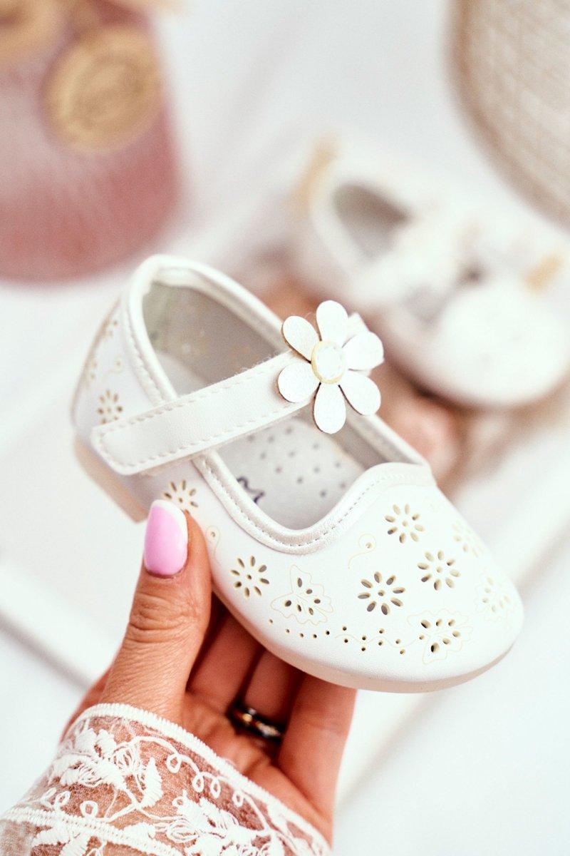 Balerinki Dziecięce na Rzepy Kwiatuszek Białe Flored