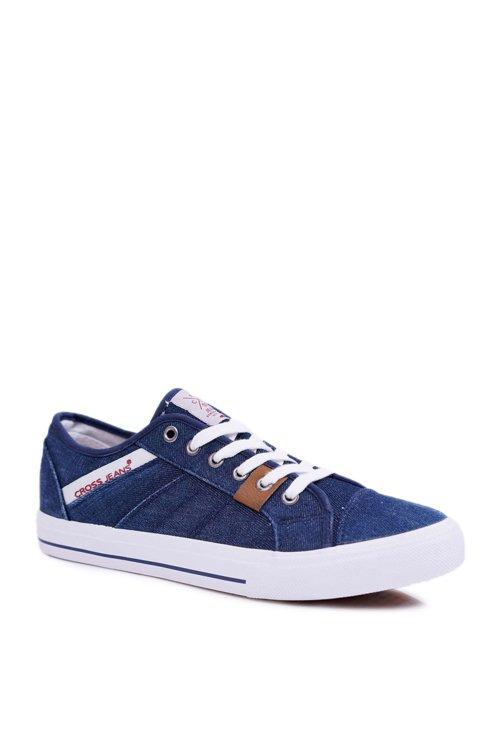 Trampki Męskie Cross Jeans Klasyczne Jeans Granatowe DD1R4027