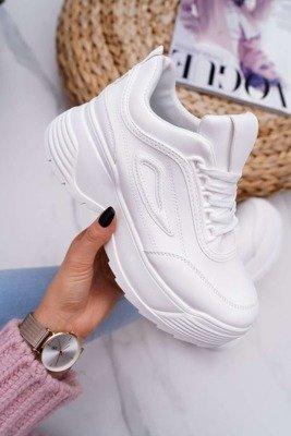 Sportowe Damskie Buty Złote Wstawki Białe Ellucia