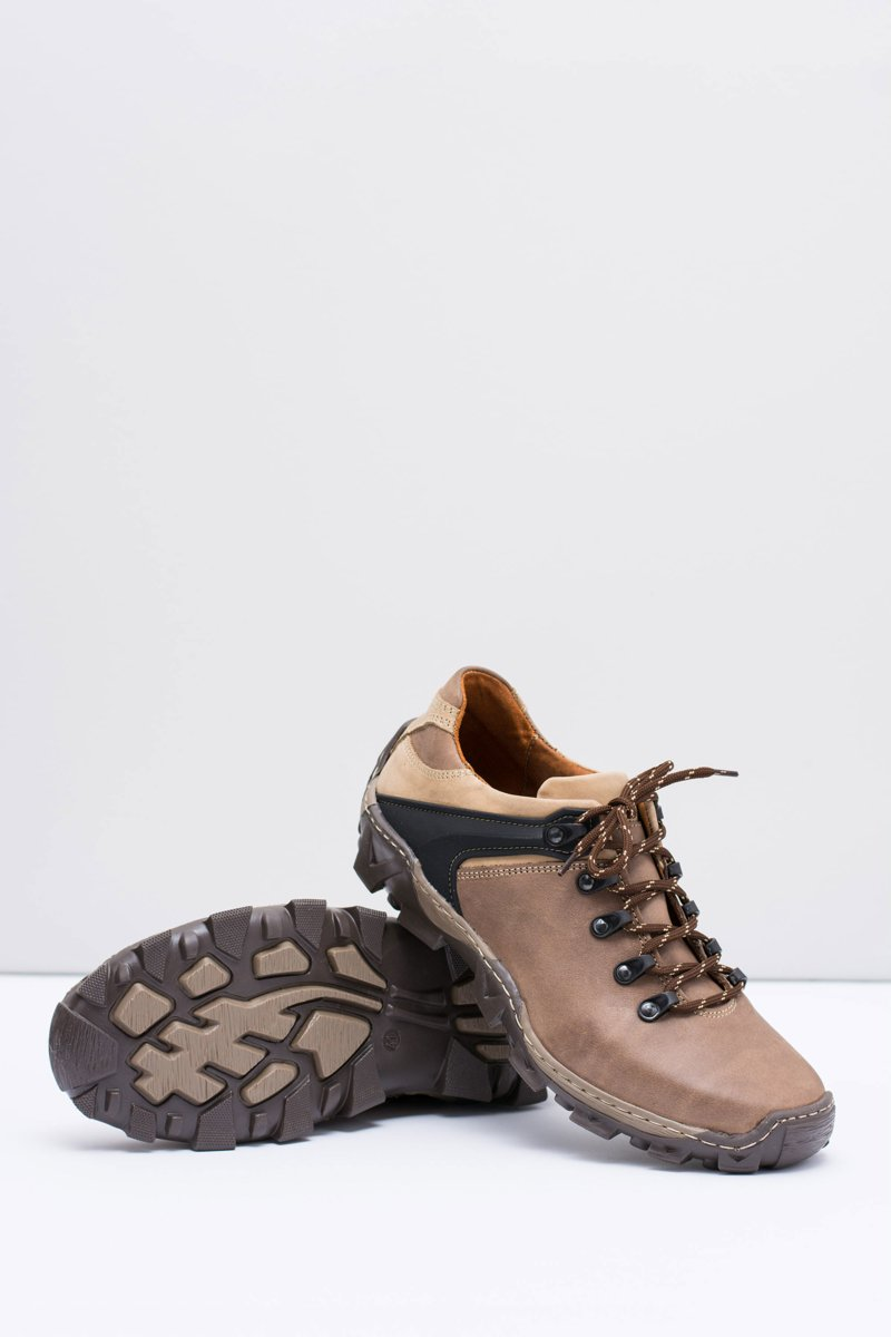 Men's Leather Brown Trekking Shoes Filippo