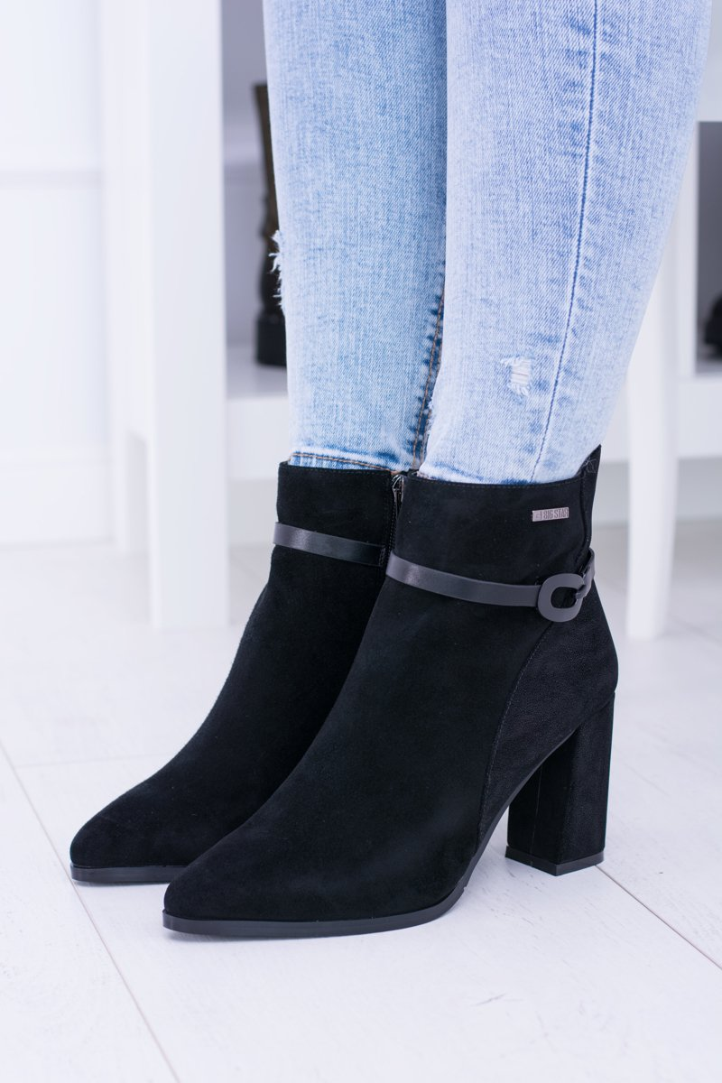 Suede Heel On Star BB274383 Big and Cheap Booties Black 1fWqE