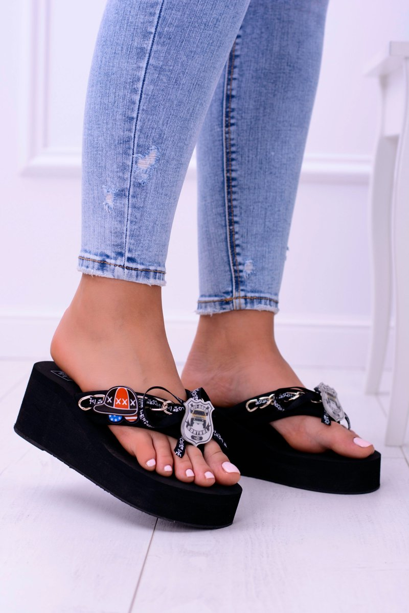 Black Extravagant Flip Flops Secondshock  Cheap And -7436