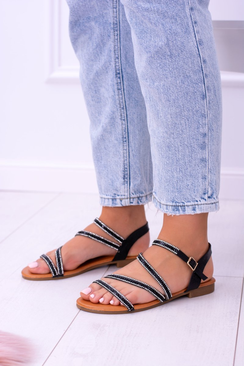e4ddbe77fb7431 ... Black Women s Sandals With Crystals Ferragosto