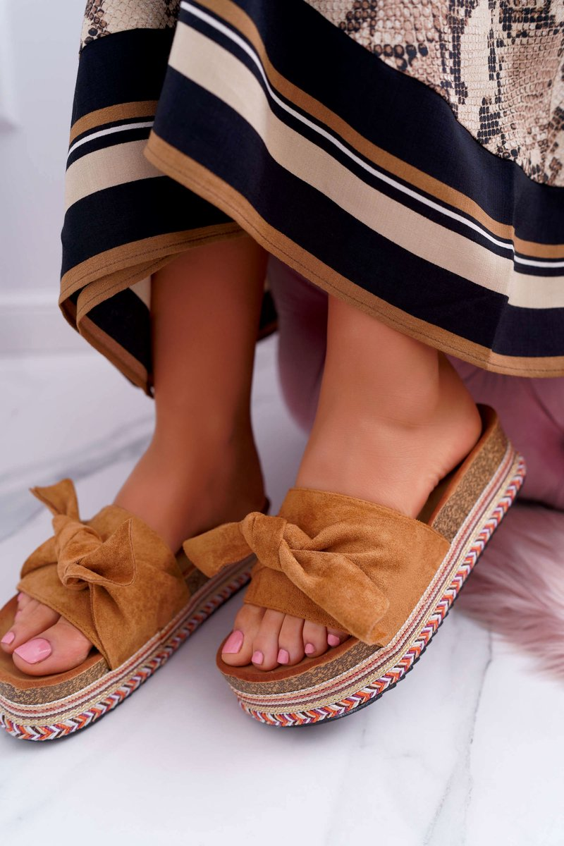 Classic Women's Slides With a Bow On The Platform Camel Chantal