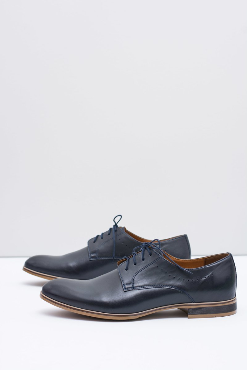 Elegant Men's Formal Dark Blue Shoes Damoste