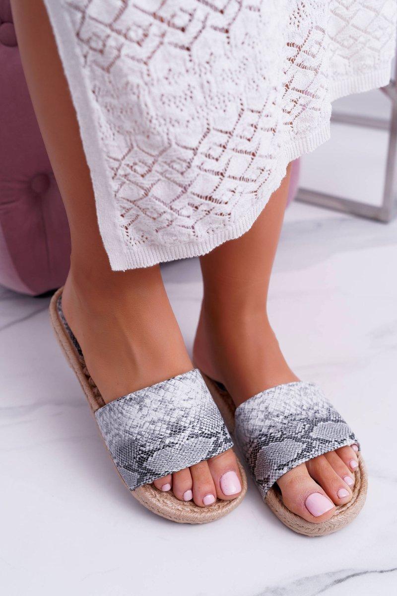 64af7d544847 Gray Women s Flip Flops Snake Skin Mindset ...