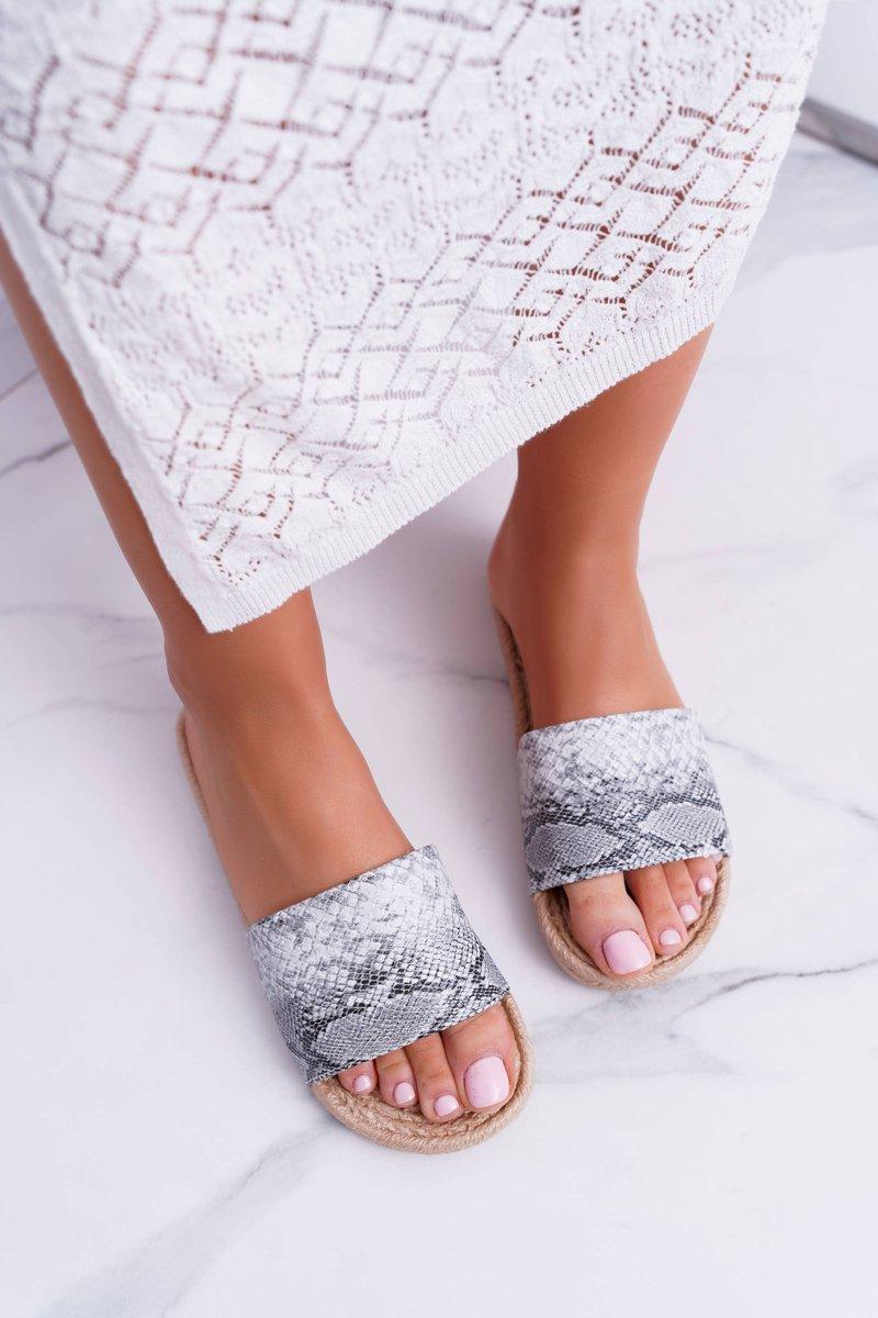 886236b402ef ... Gray Women s Flip Flops Snake Skin Mindset