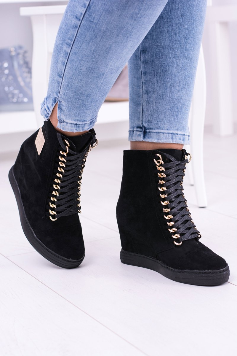 LU BOO | Black Suede Sneakers With Gold Chains Monica