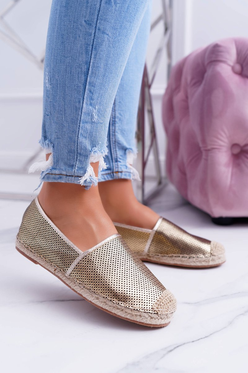 Lu Boo Gold Perforated Espadrilles Kimchi