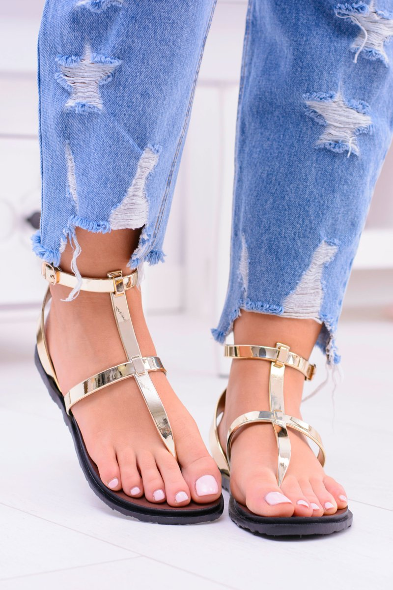 Lu Boo Golden Mirrored Sandals Roman flip-flops