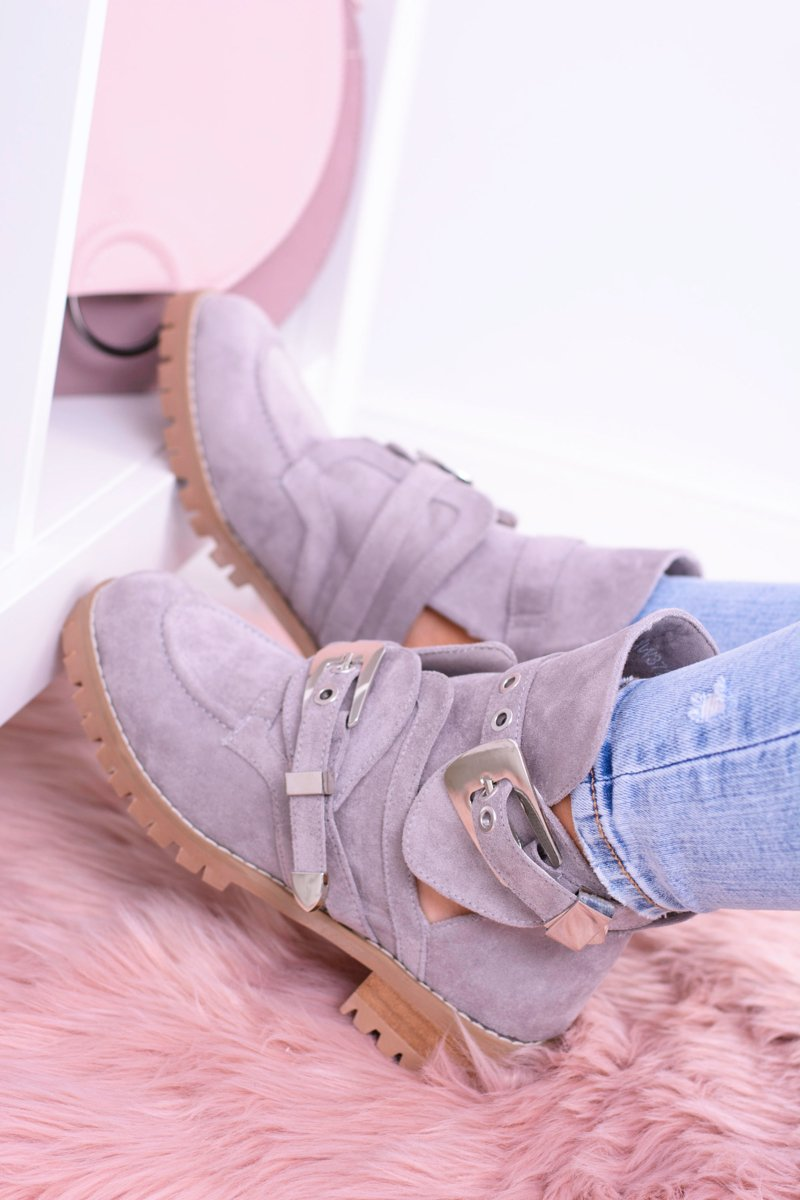 Lu Boo Grey Suede Cut Out Ankle Boots Rock Girl