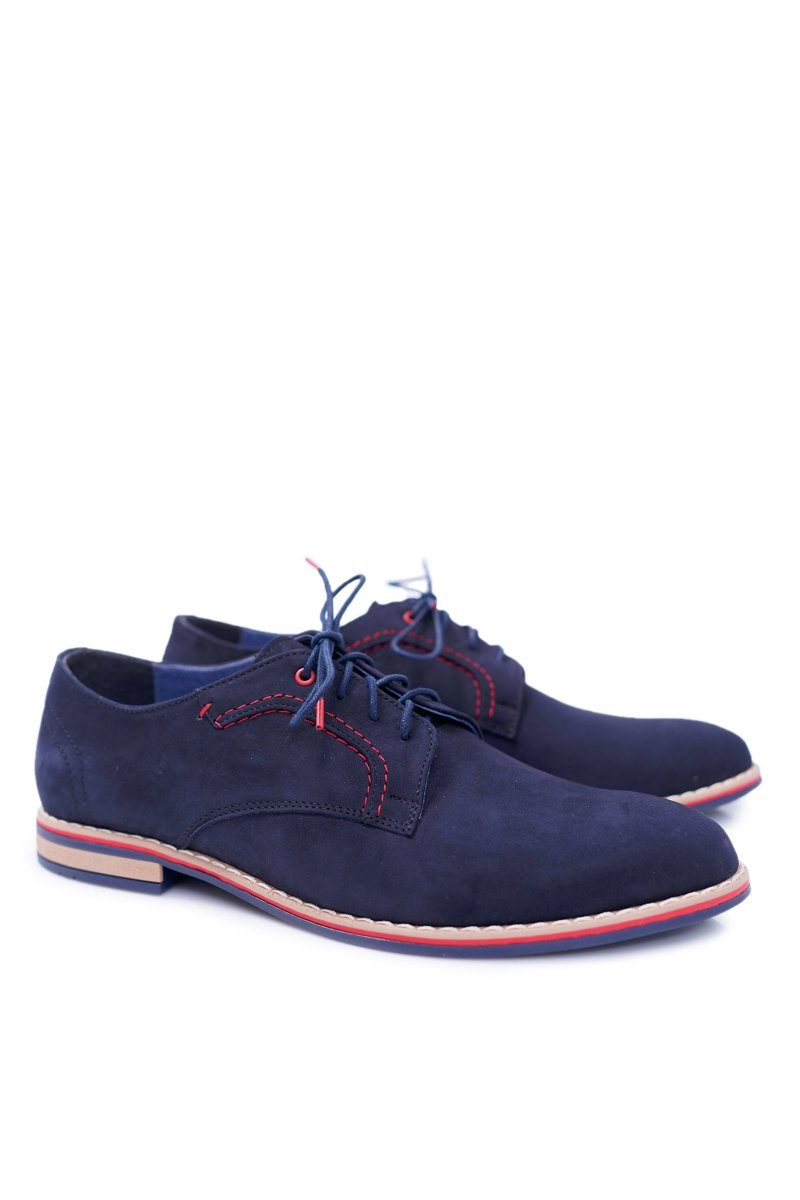 Men's Elegant Navy Blue Casual Suede Shoes Pietro