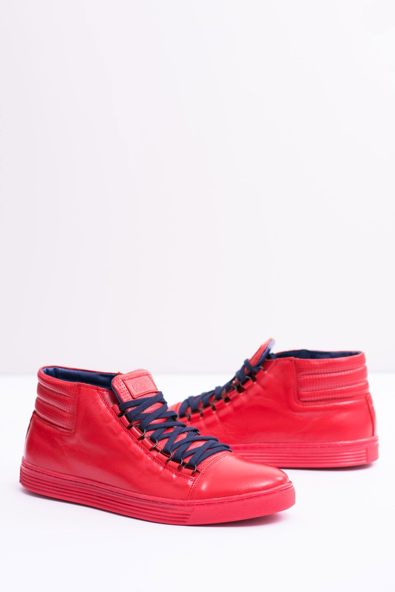 Men's Leather Sneakers Red Torres