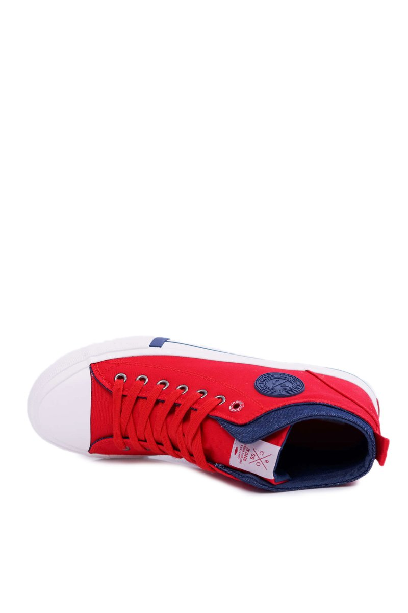 Men's Sneakers High Cross Jeans Textile Red DD1R4059
