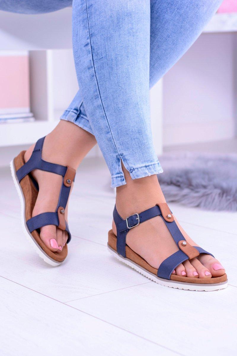Navy Blue Comfortable Women Sandals Flat Dubi | Cheap and ...
