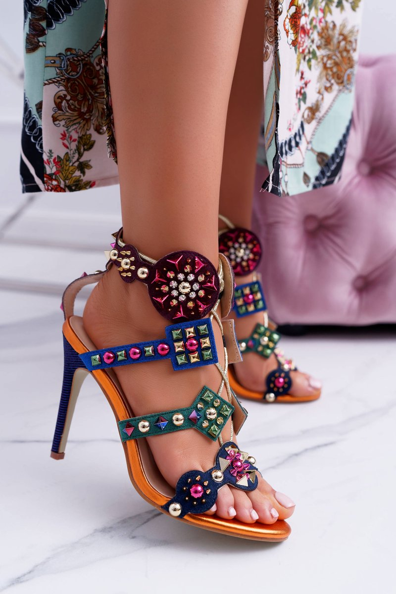 Sandals On A High Heel Stud Jet Brads Rockers Colorful