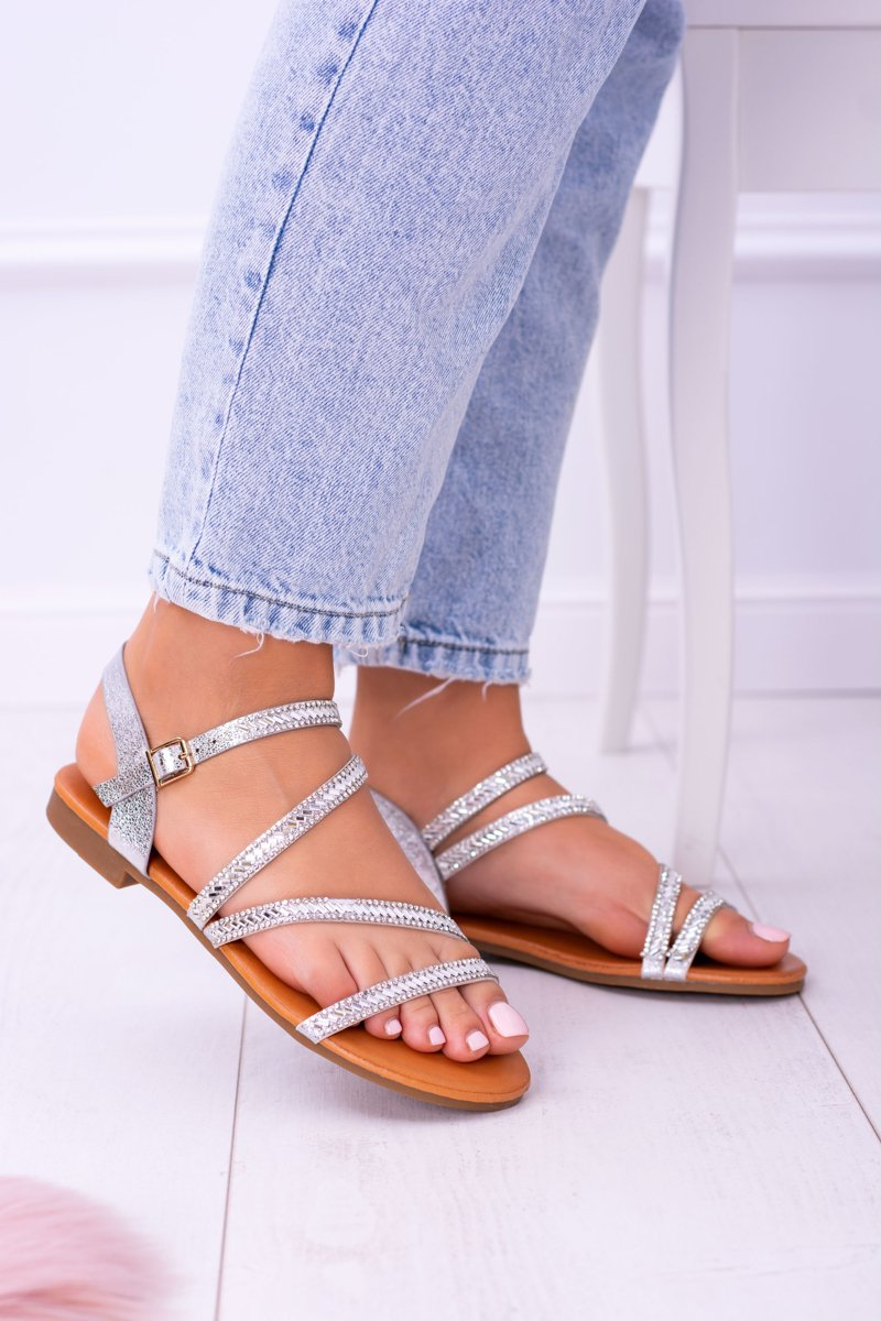 96cd382ce4c0c8 ... Silver Women s Sandals With Crystals Ferragosto ...