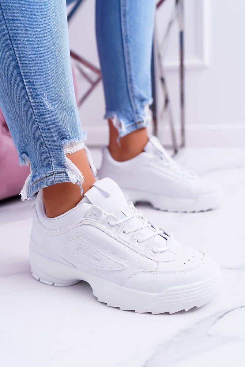 Sportowe Damskie Białe Buty Białe Faqundo