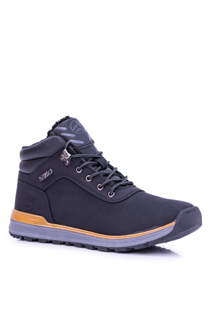 864ab3d563 Warm Black Men s Trekking Boots With Fleece Preventi