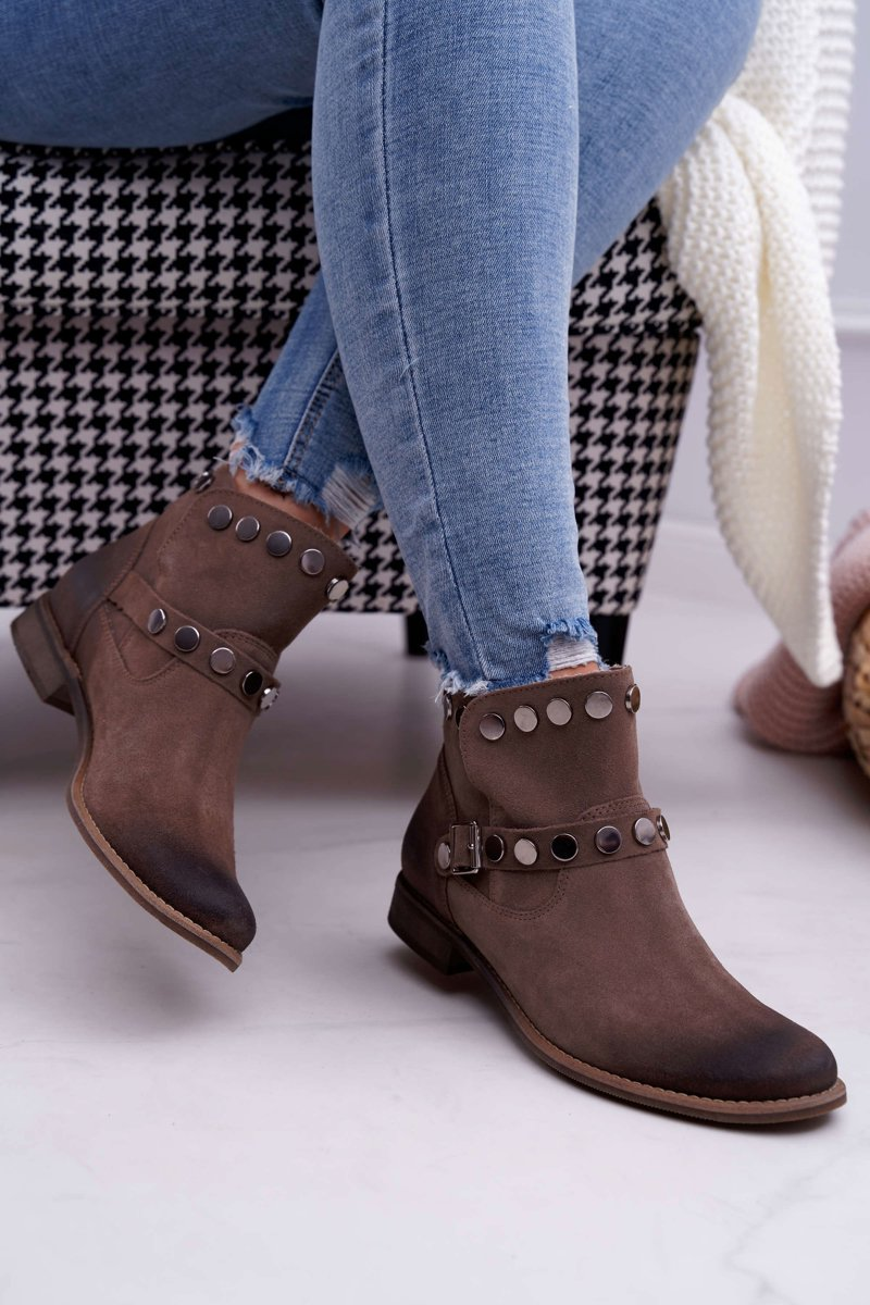 Women's Boots Leather Beige Exquisite 1172