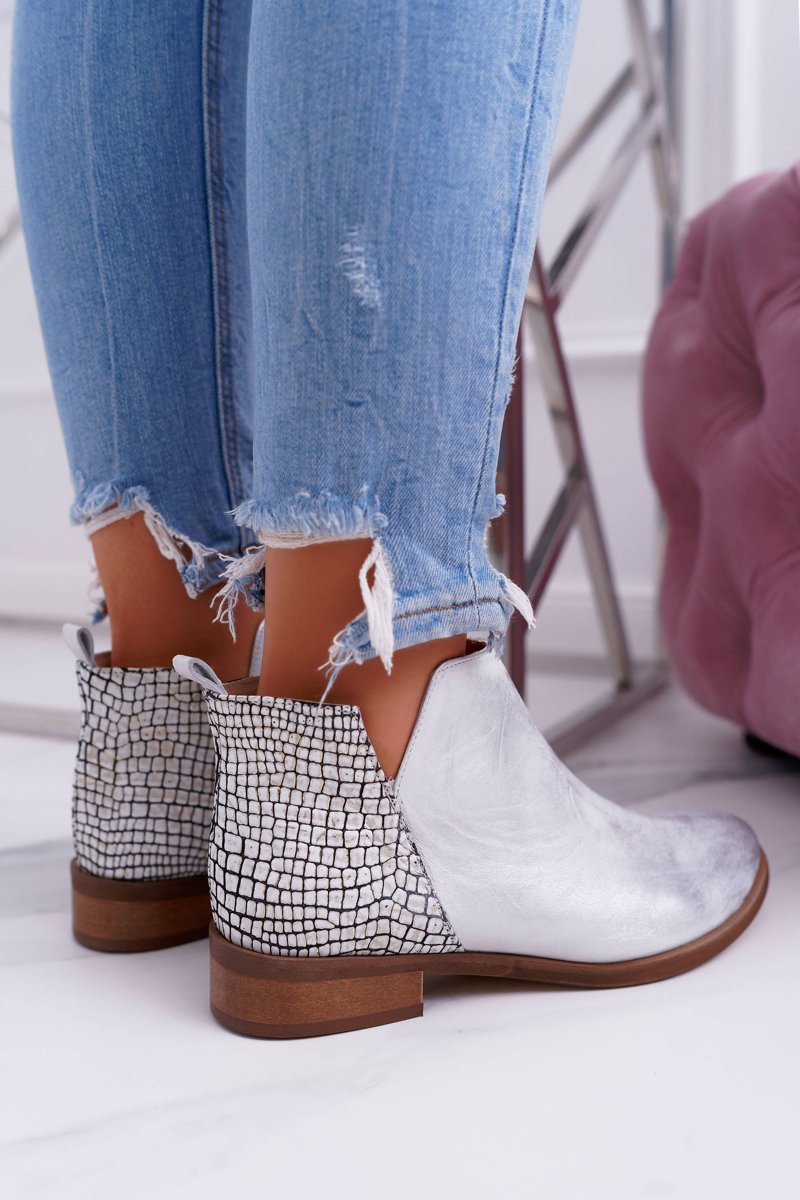 Women's Boots On Flat Heel Spring Leather Silver Madness