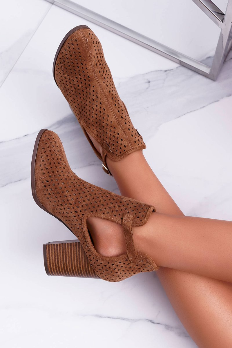 Women's Boots On High Heel Spring Perforated Camel GoodDay