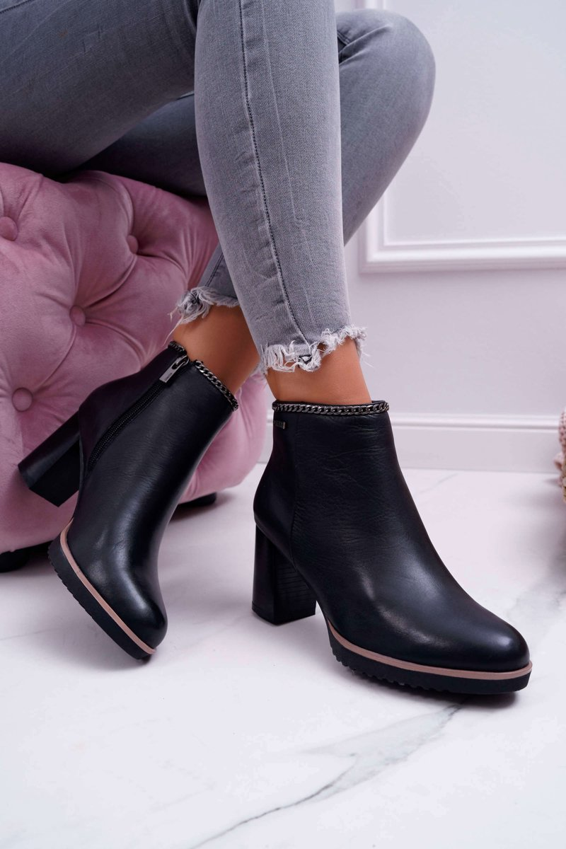 Womens Boots On High Heel Suede Leather Black Big Star