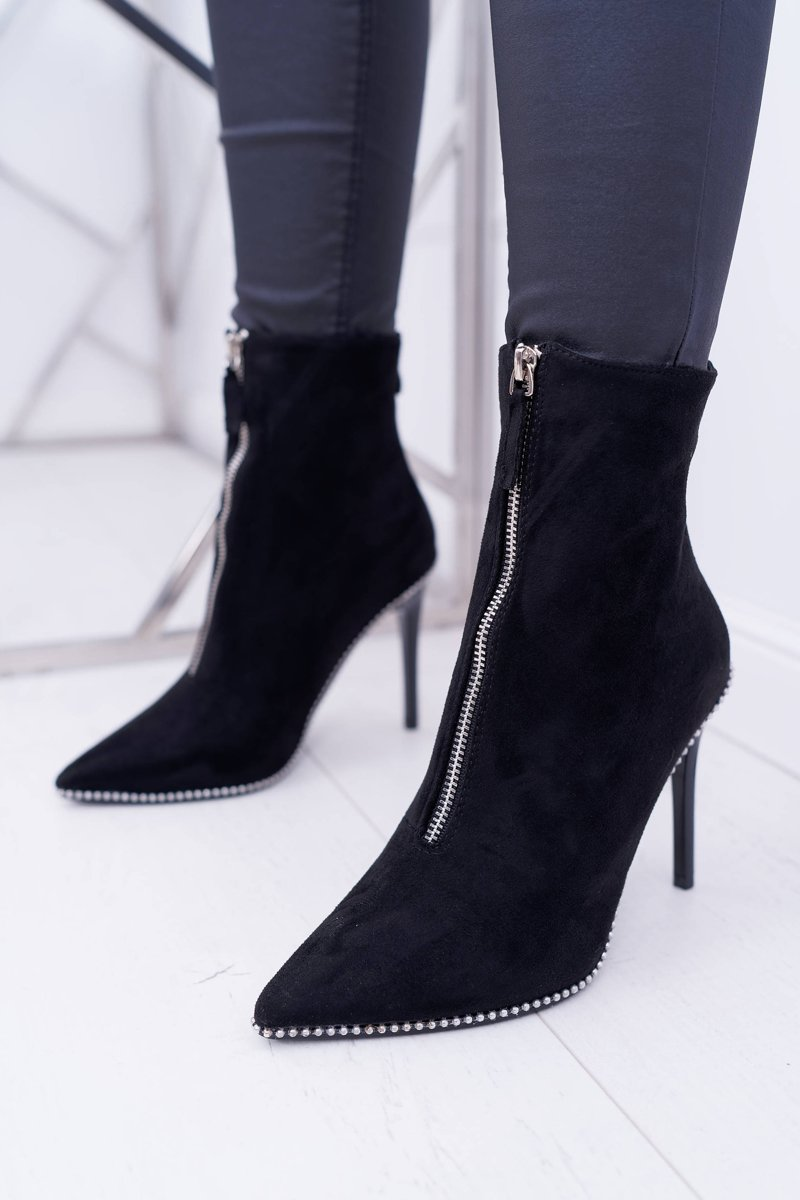 c90e172193 Women's Boots On High Heel Two Zippers Suede Black Suzy | Cheap and  fashionable shoes at Butosklep.pl