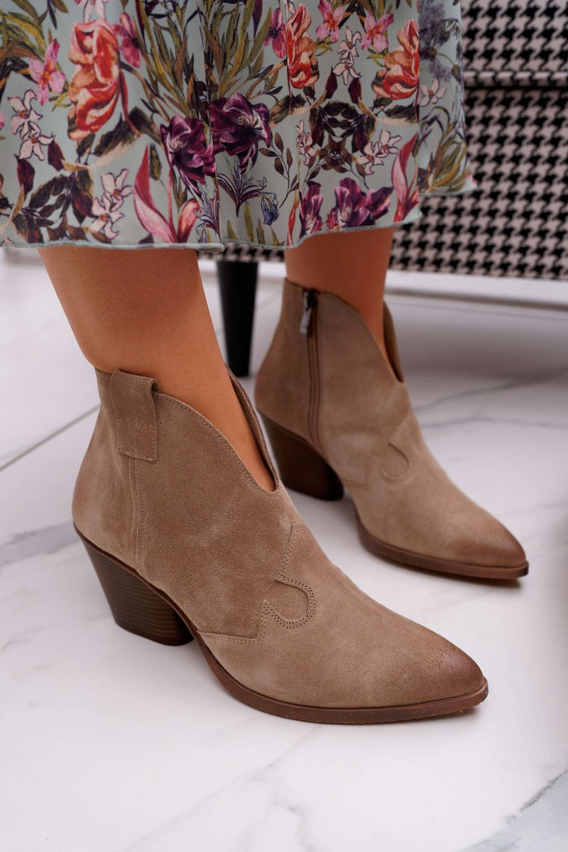 Women's Boots Spring Leather Beige Chavai