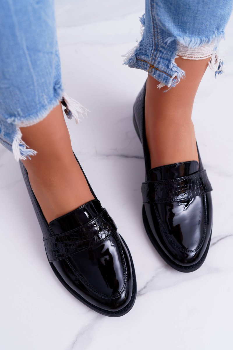 Women's Brogues Shoes Leather Slip-on Black Dynasty