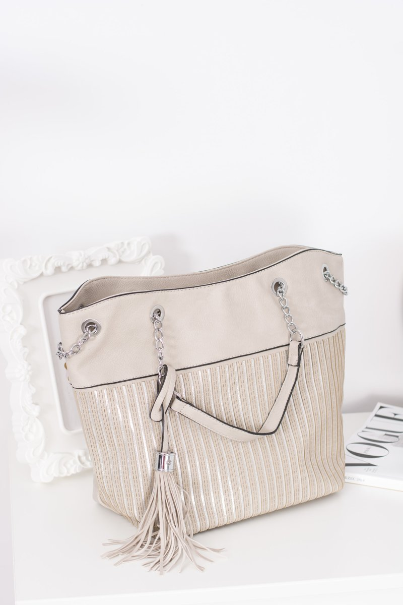 Women's Grey Classic Purse with Tassel