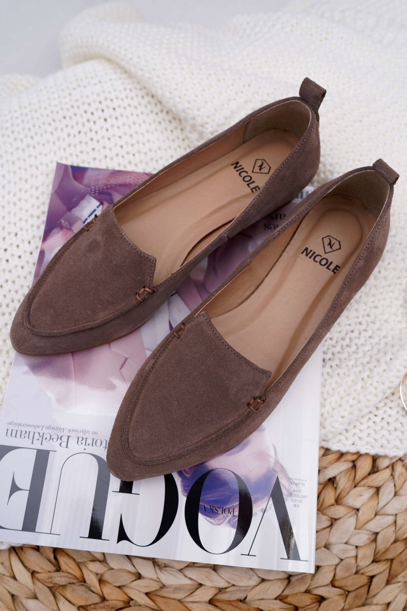 Women's Loafers Suede Cappuccino Homny