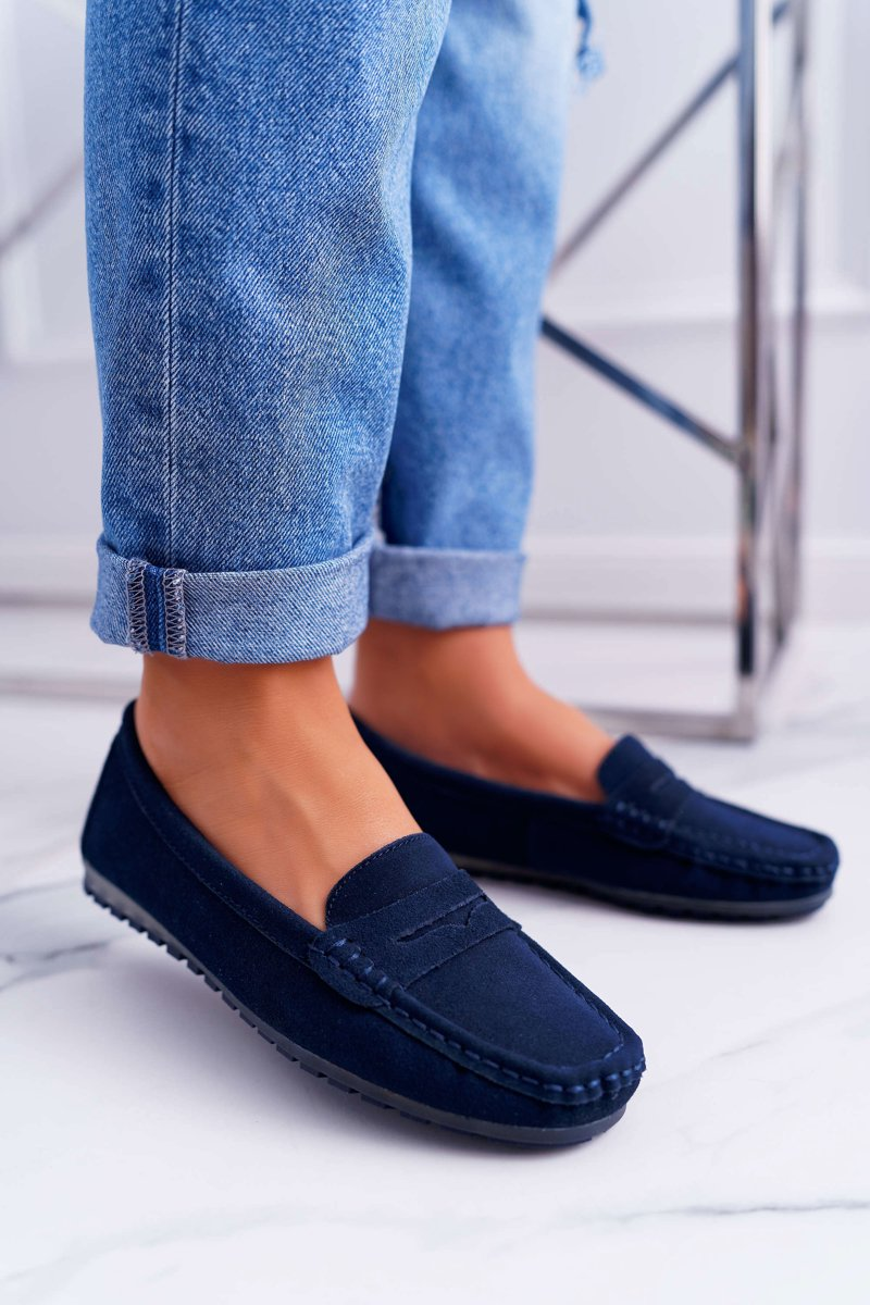 Women s Loafers Suede Leather Navy Blue Tenzion ...