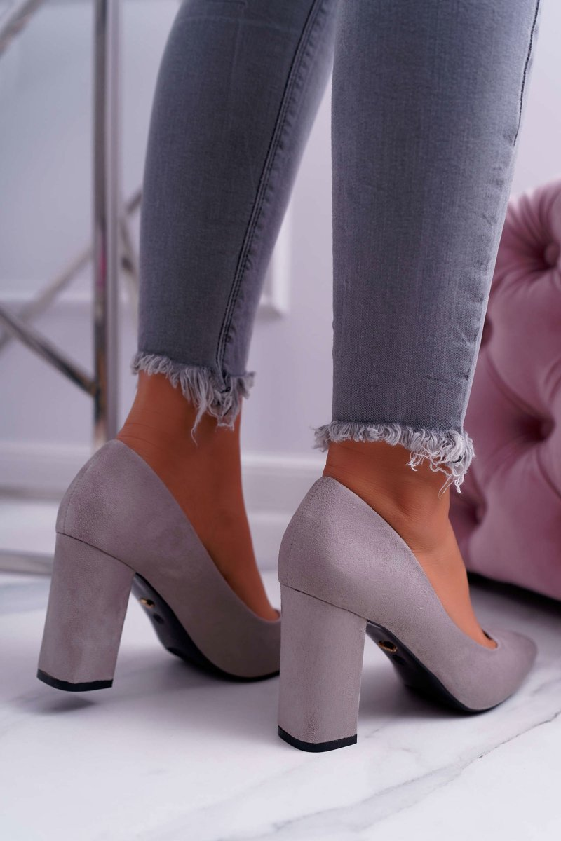 Women's Pumps On Heel Suede Grey Clarina