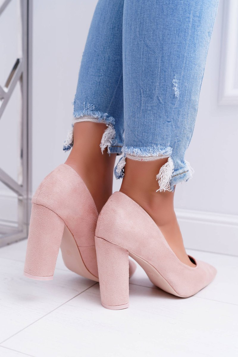Women's Pumps On Heel Suede Pink Strawberry