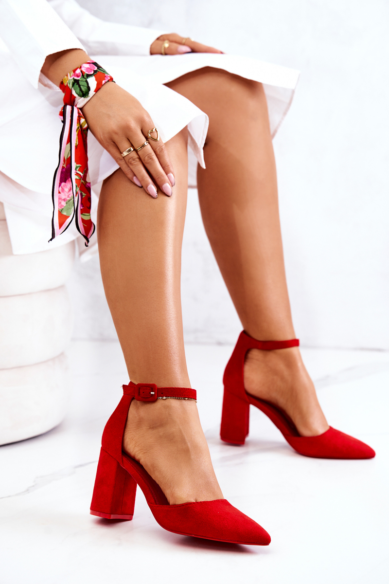 Women's Pumps On Heel Suede Red Harye