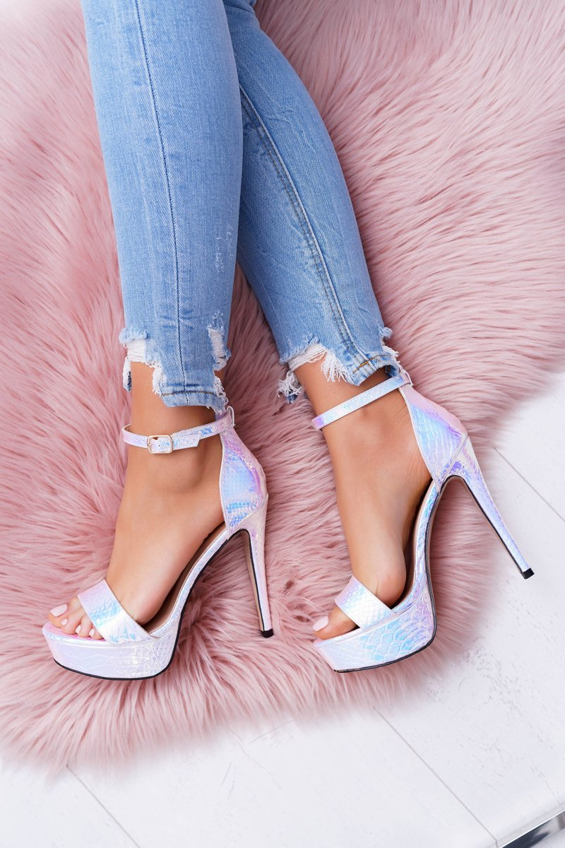Women's Sandals On High Heel Platform Petrol Silver ShakeIt
