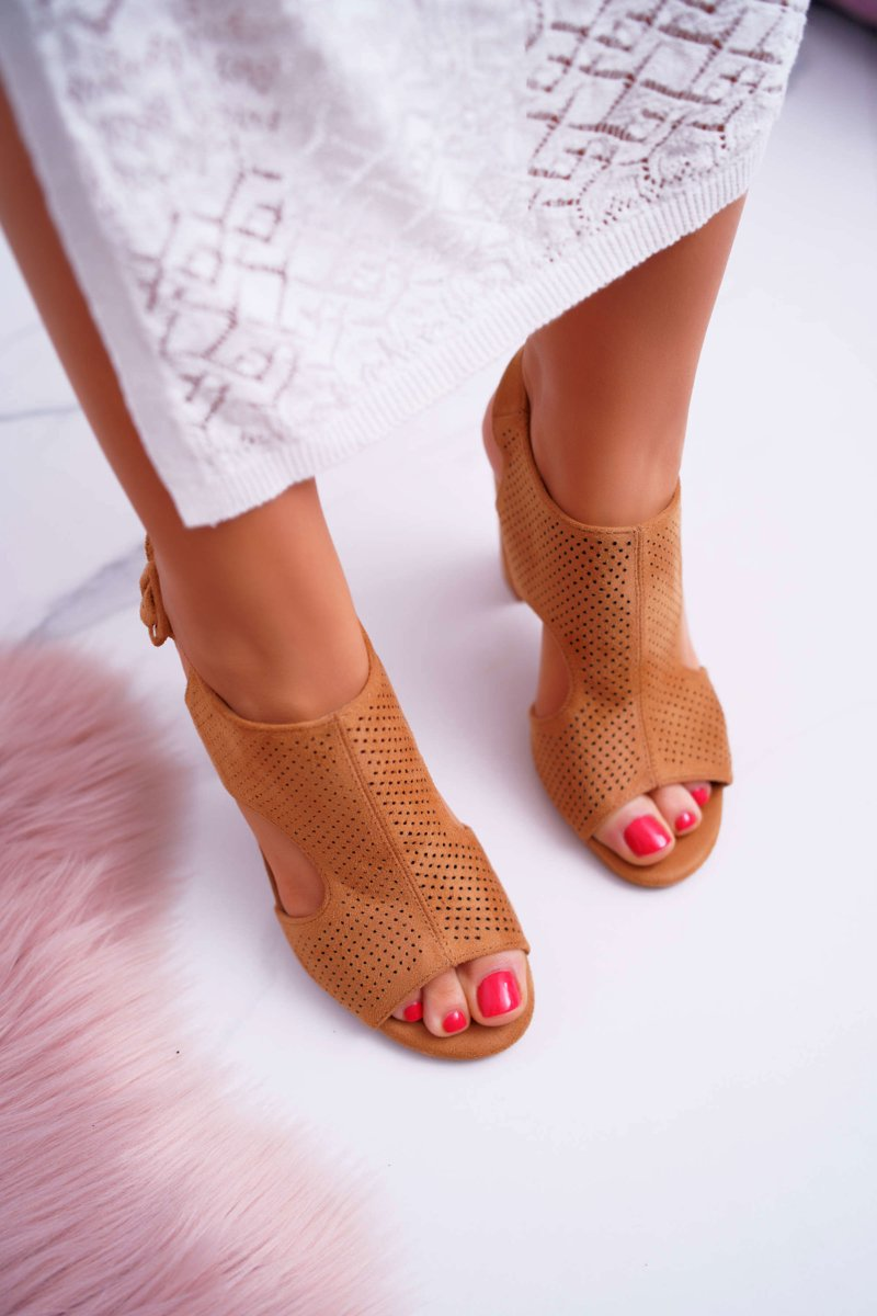 Women's Sandals On High Perforated Suede Camel HiBaby