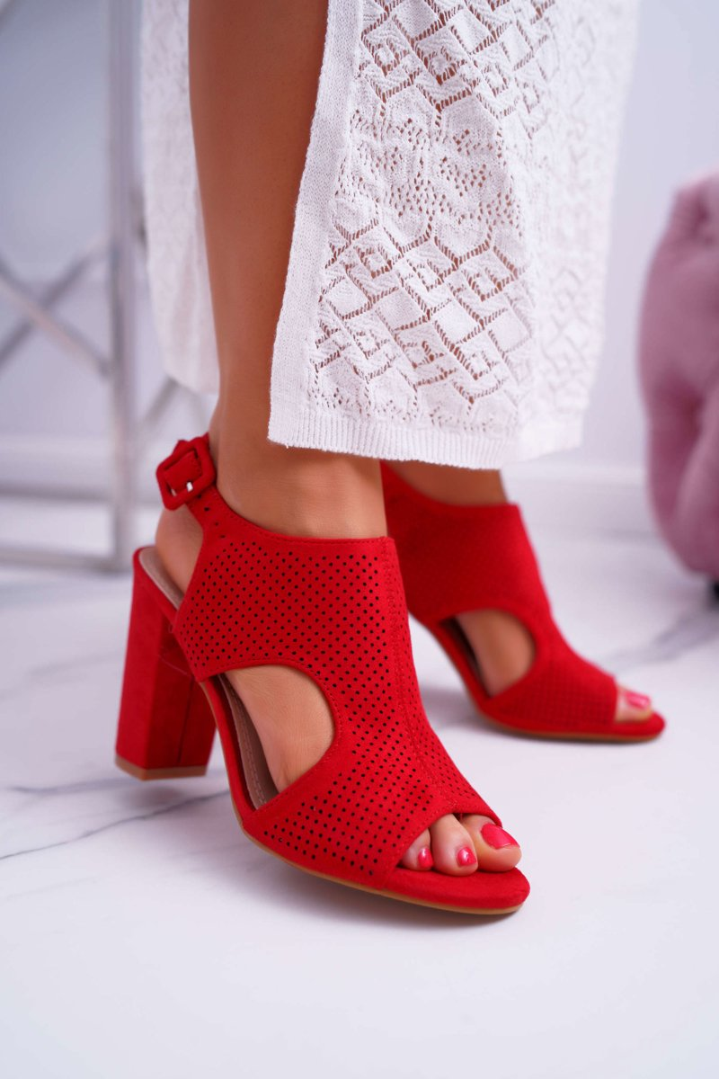 Women's Sandals On High Perforated Suede Red HiBaby
