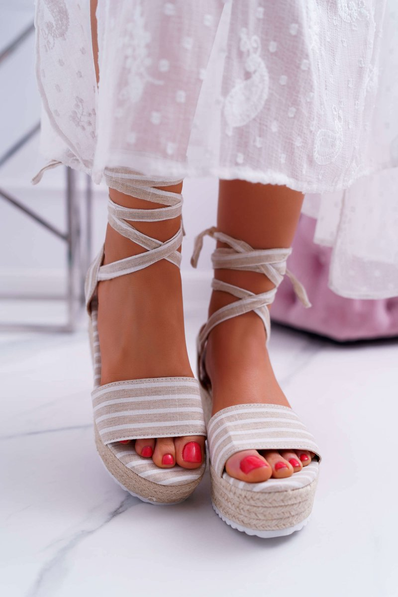 Women's Sandals On Wedge And Platform Linen Laced Beige Jolyn