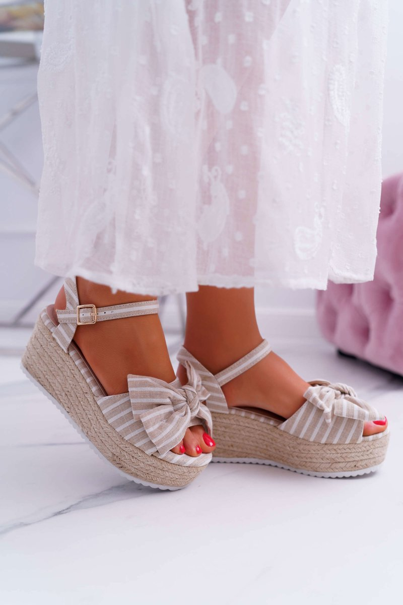 Women's Sandals On Wedge And Platform With Bow Linen Beige Bounce