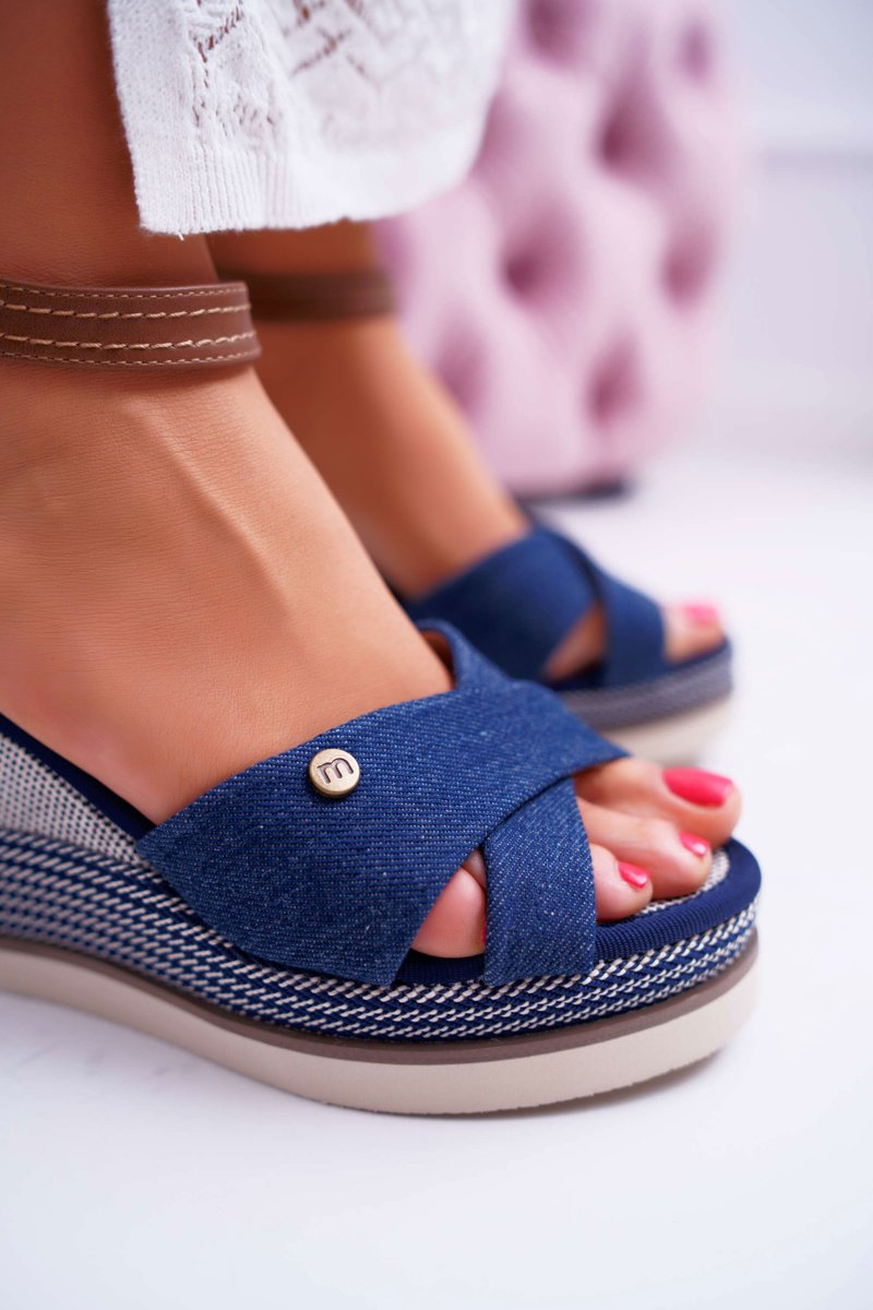 Women's Sandals On Wedge Jeans Navy Blue DoThis!