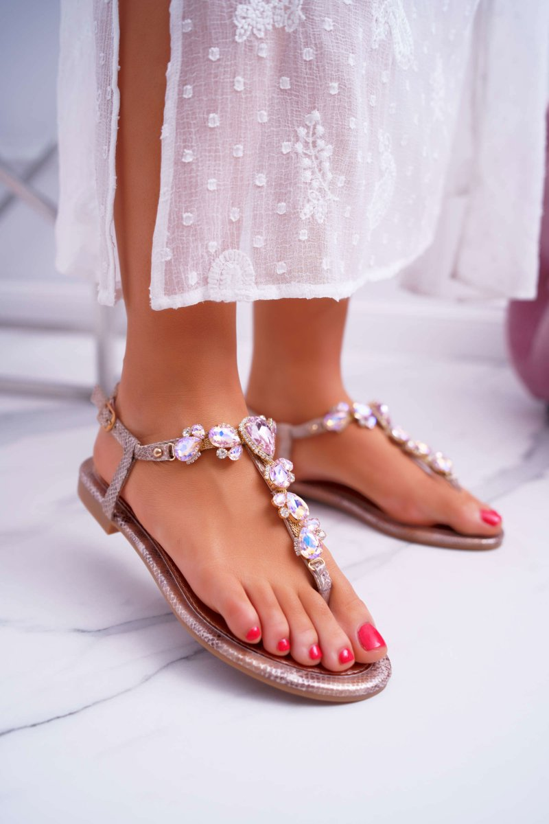 Women's Sandals with Cirkons Pink Gold Tenese