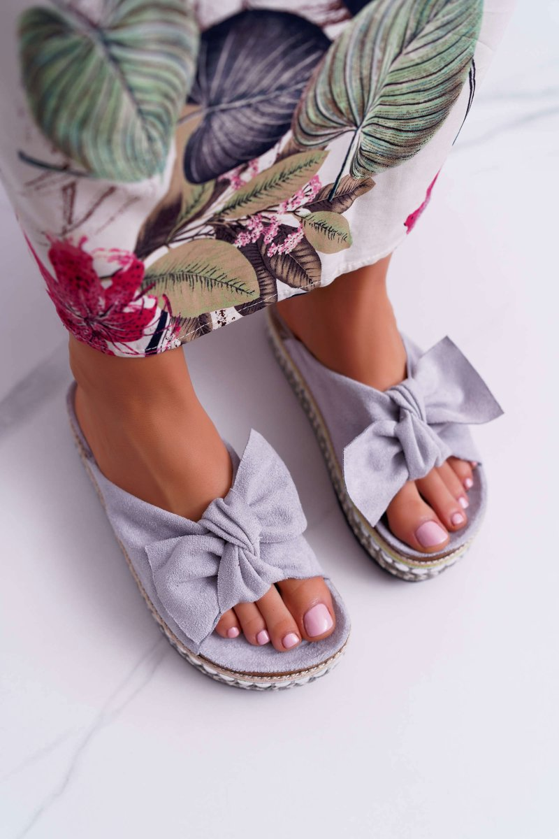 Women's Slides Thick Sole With Bow Grey Milady