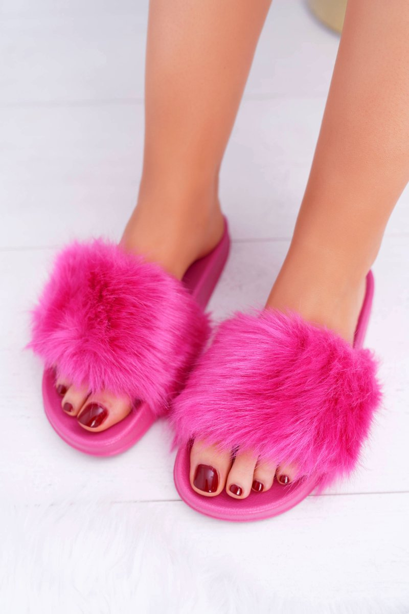 women s slides with fur fuschia fur cheap and fashionable shoes at