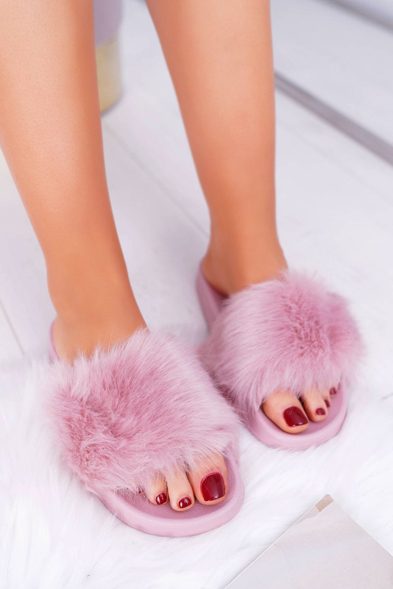 women s slides with fur light pink fur cheap and fashionable shoes