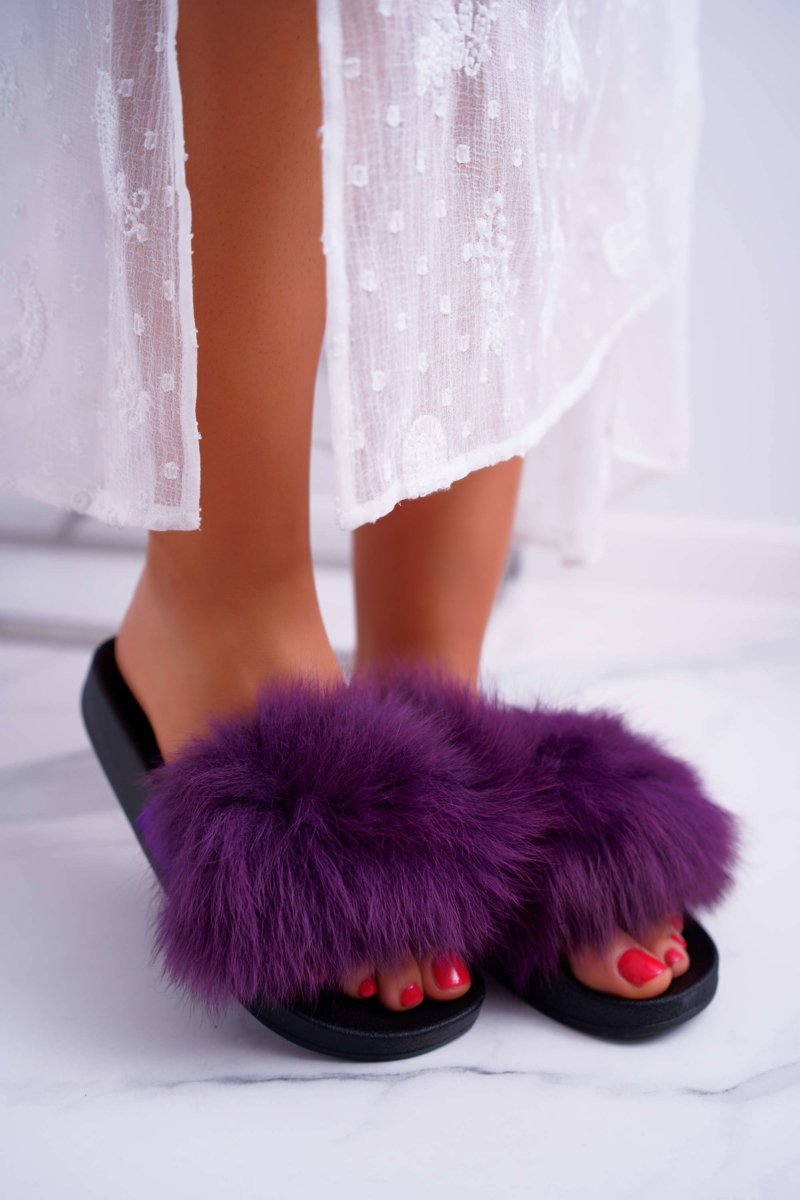 Women's Slides With Purple Mellow