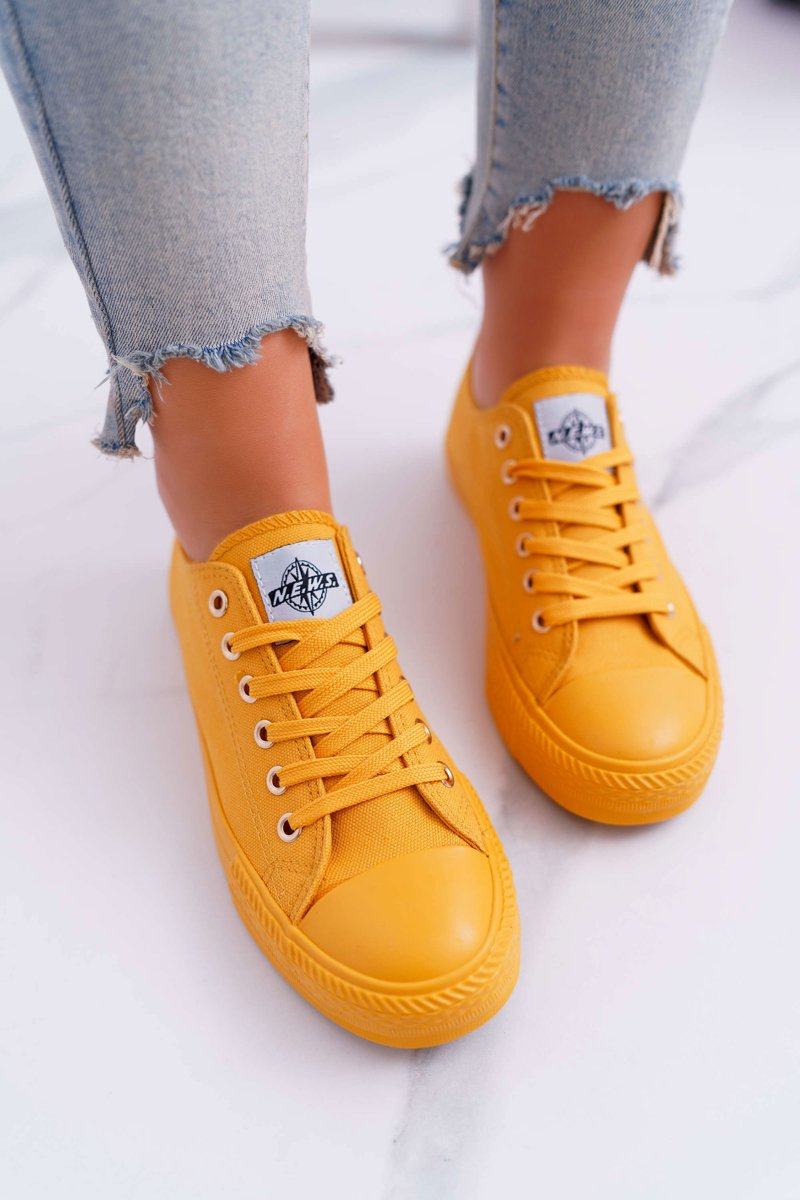 Women's Sneakers Low Material Yellow Ecoma