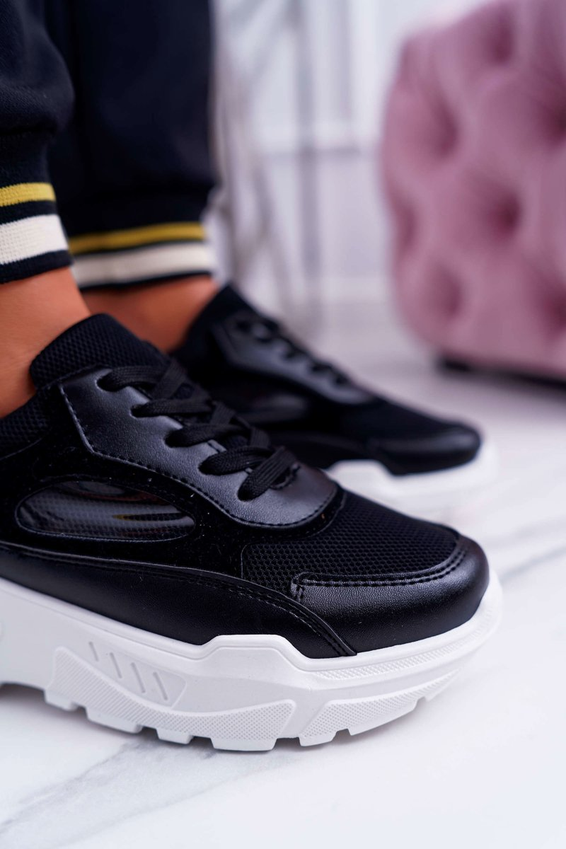 Women's Sport Shoes Thick Sole Black HighStep