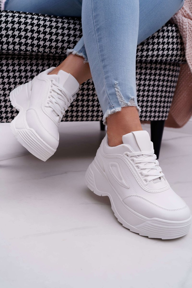 Women's Sport Shoes With Thick Soles White Louder